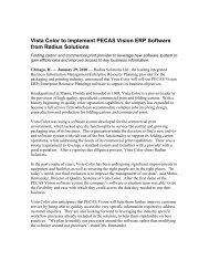 Vista Color to Implement PECAS Vision ERP Software from Radius ...