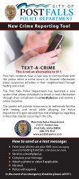 Text A Crime Brochure - Post Falls Police