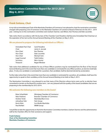 Nominations Report and Board Members 2013 -2014 - Manitoba ...
