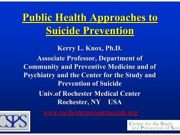 Public Health Approaches to Suicide Prevention - Gannett Health ...