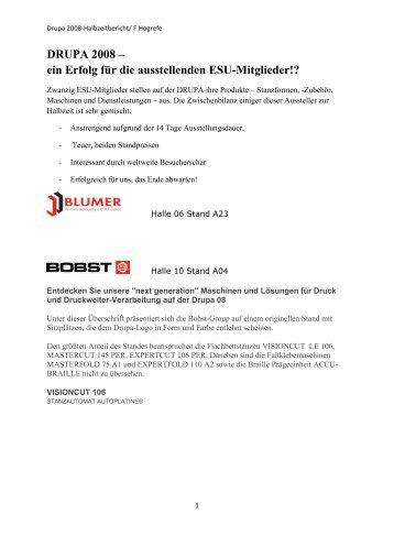 DRUPA 2008 – ein Erfolg für die ausstellenden ESU-Mitglieder!?