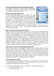 Are you drinking plenty? teachers' guide - Food a fact of life