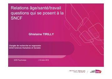 Relations âge/santé/travail questions qui se posent à la SNCF