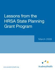 Lessons from the HRSA State Planning Grant Program