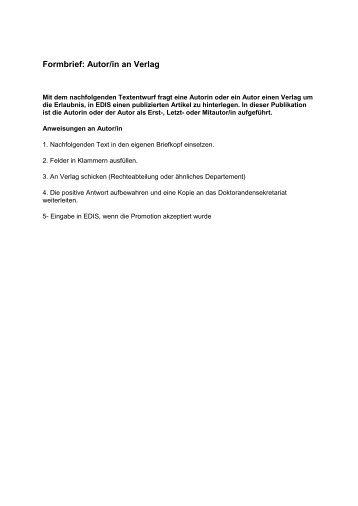 Formbrief: Autor - Verlag - Universität St.Gallen
