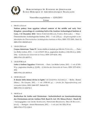 Nouvelles acquisitions — 12/01/2013 Livres - EBAF