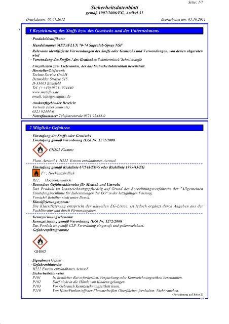 SDB METAFLUX 70-74 Supralub-Spray NSF