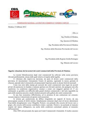 Modena 13 febbraio 2012 Alla c.a Sig. Prefetto di ... - CGIL Modena