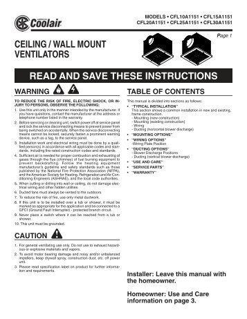 ceiling / wall mount ventilators read and save ... - American Coolair