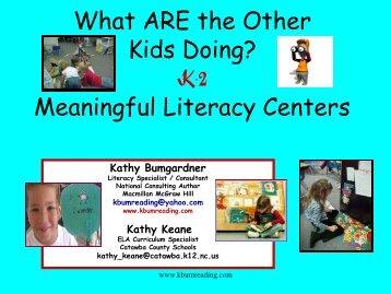 Meaningful Literacy Centers - Kbumreading.com