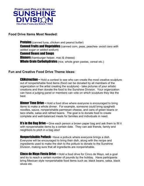 Fun And Creative Food Drive Theme Ideas