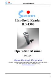 Handheld Reader HP-1300 Operation Manual - Sunion Electronics ...