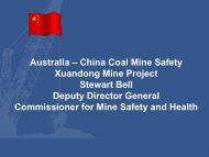 Australia – China Coal Mine Safety Xuandong Mine Project Stewart ...