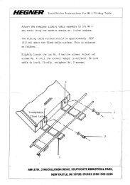 HEGNER Accura Sliding Table Parts Diagram