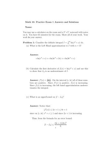 Math 10: Practice Exam 1 Answers and Solutions Name ... - Westmont