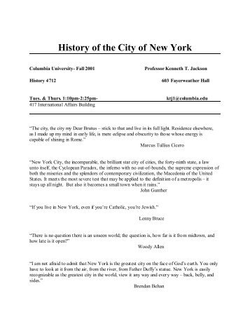 History of the City of New York Syllabus - Columbia University