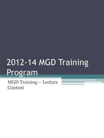 2012-14 MGD Training Program