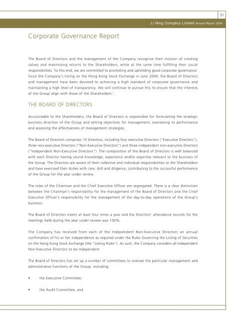 2004 Corporate Governance Report - Li Ning