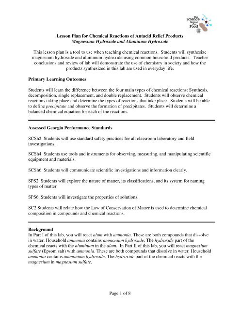 Lesson Plan for Chemical Reactions of Antacid Relief