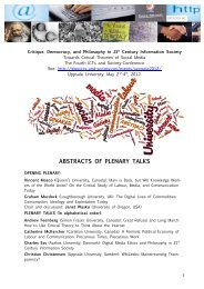 ABSTRACTS OF PLENARY TALKS - The ICTs and Society Network