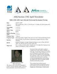 ASQ Section 1302 April Newsletter - ASQ-1302