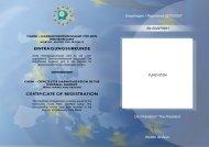 EINTRAGUNGSURKUNDE CERTIFICATE OF REGISTRATION ...