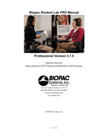 BSL 3.7.5 PRO User Guide - Biopac