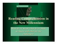 Reading Comprehension in the New Millennium - Emma Eccles ...