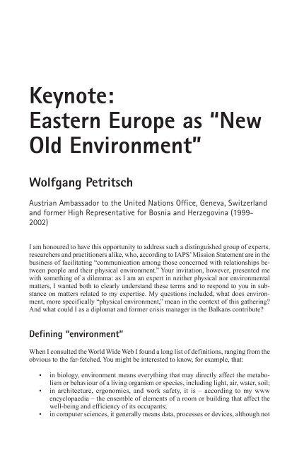 "Keynote: Eastern Europe as ""New Old Environment"" - Wolfgang ..."