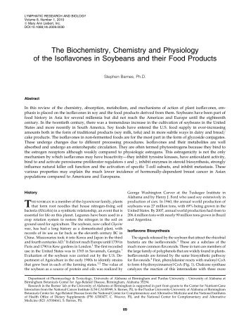 The Biochemistry, Chemistry and Physiology of the Isoflavones in ...