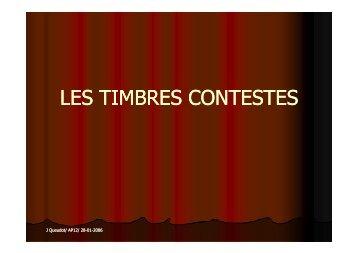 LES TIMBRES CONTESTES - Amicale Philatélique Paris 12