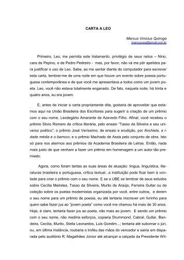 CARTA A LEO Marcus Vinicius Quiroga Primeiro ... - O Marrare - Uerj
