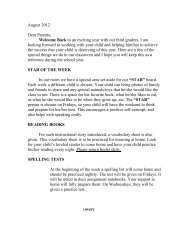 beginning year letter 2012 - Holy Family Catholic Schools