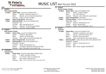 Services and Music - St Peters Cathedral, Adelaide