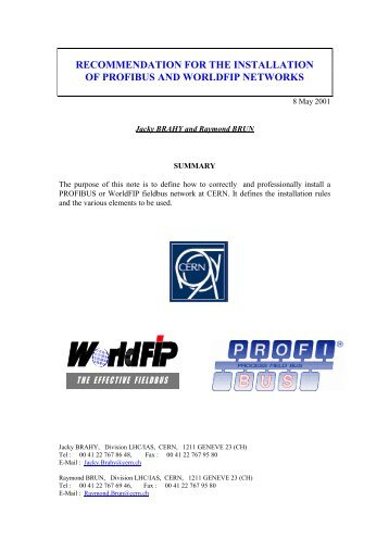 recommendation for the installation of profibus and worldfip ... - CERN