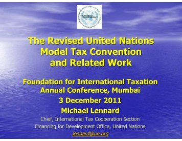 The Revised United Nations Model Tax Convention and Related Work