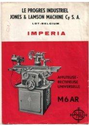 Impéria M6 A et M6 AR plaquette - Usinages
