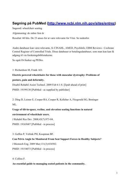Søgning på PubMed (http://www.ncbi.nlm.nih.gov/sites/entrez)