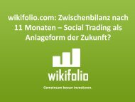 wikifolio.com: Zwischenbilanz nach 11 Monaten – Social Trading als ...