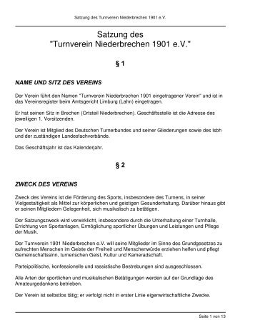 """Satzung des """"Turnverein Niederbrechen 1901 e.V."""""""
