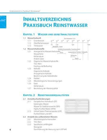 INHALTSVERZEICHNIS PRAXISBUCH REINSTWASSER