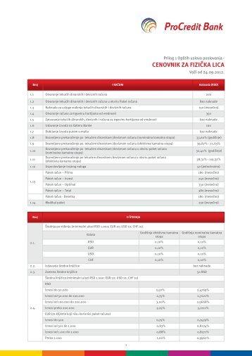 Cenovnik usluga za fizička lica - ProCredit Bank