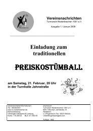 am Samstag, 21. Februar, 20 Uhr in der Turnhalle Jahnstraße