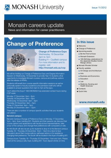 Monash careers update Change of Preference