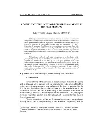 computational method for stress analysis in hip - Scientific Bulletin ...