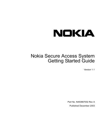 Nokia Secure Access System Getting Started Guide - Check Point