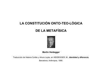 La constitución onto-teo-lógica de la Metafísica - Heidegger