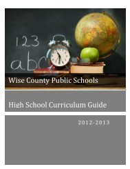Wise County Schools Curriculum Guide 2012-2013