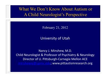 What We Don't Know About Autism or - University of Pittsburgh ...