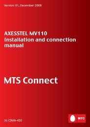AXESSTEL MV110/210. Installation and connection manual